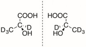 Figure 1: Structures of L-lactic acid-d4 (left) and D-lactic acid-d4 (right)