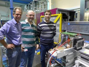 Multilayer Double-gap RPCs detector on TREFF neutron beamline at FRMII (GE) for the tests with neutrons (4.7 Å); from left to the right: Karl Zeitelhack, Alberto Blanco and Luís Margato.